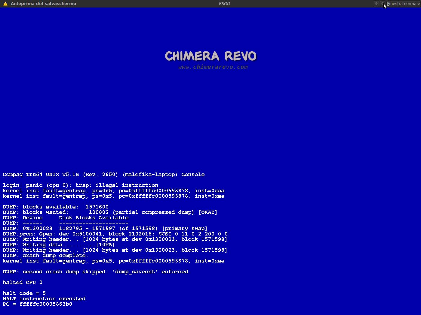 Ubuntu: i Blue screen of Death di Windows come Screensaver