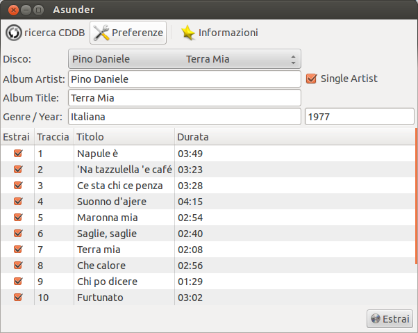 Come convertire CD audio in mp3 - Asunder