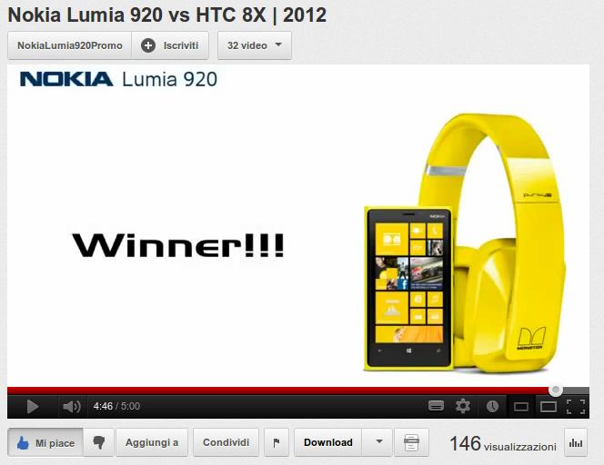Nokia Lumia 920 vs HTC 8X 2012 YouTube