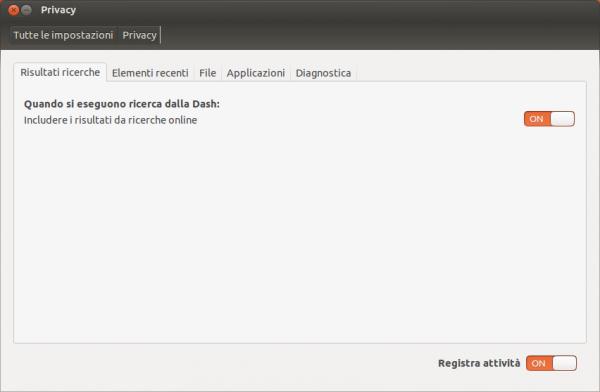 ubuntu 12.10 privacy dash