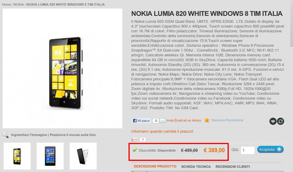 Nokia lumia 820 disponibile a 389 euro da phonegalaxy for Magazzini telefonia discount recensioni