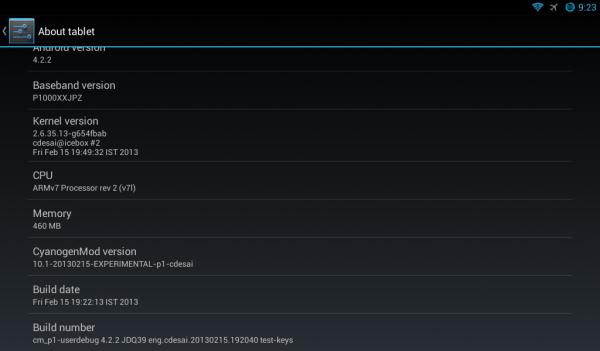 Galaxy Tat android 4.2.2 cm10.1