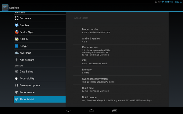 asus transformer pad infinity android 4.2.2 cm10.1