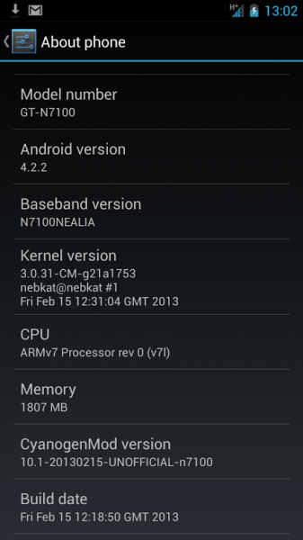 galaxy note 2 android 4.2. cm10.1