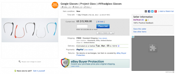 google glasses asta ebay