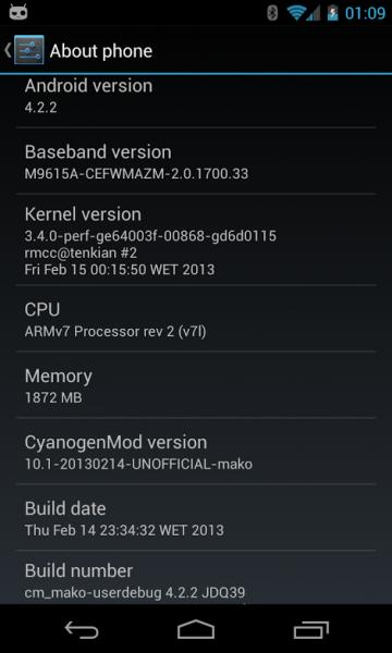 nexus 4 android 4.2.2 cm10.1