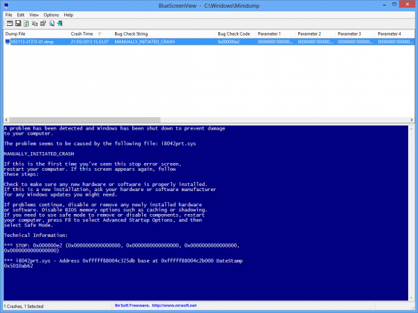 BlueScreenView - BSOD in stile Windows XP