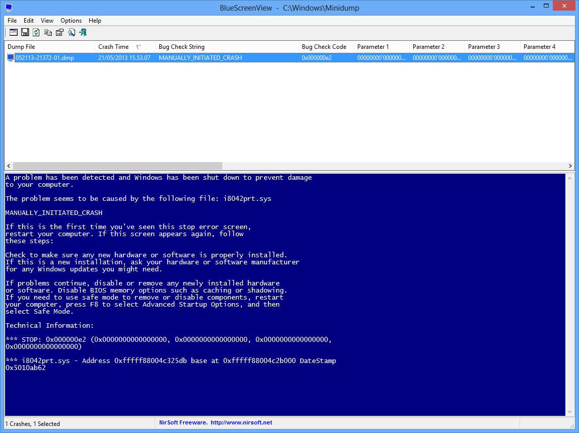 BlueScreenView - BSOD in stile Windows XP