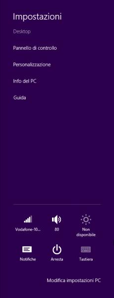 """La barra delle """"Impostazioni"""" di Windows 8"""