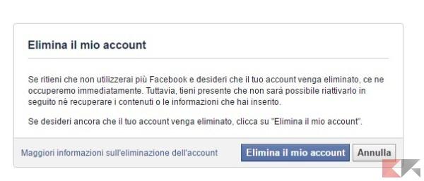 cancellare il profilo facebook