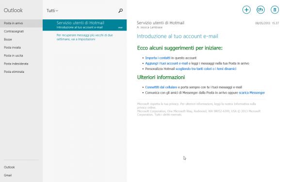 """L'app Modern """"Mail"""": un gestore di posta elettronica a tutto schermo, dall'interfaccia funzionale e ordinata."""