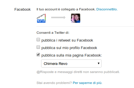 twitter connesso a facebook