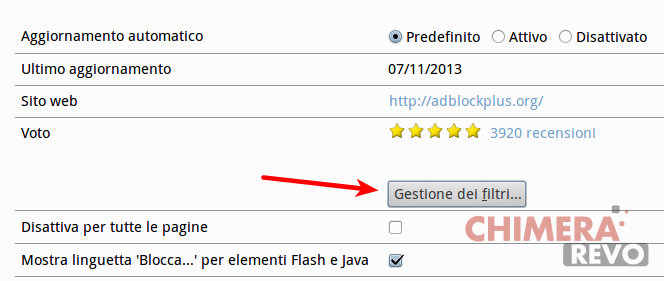Firefox - Gestione Filtri