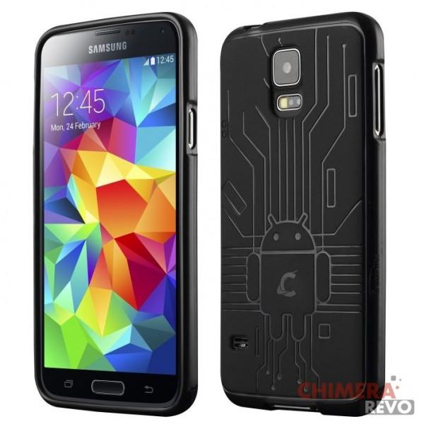 Cruzerlite Bugdroid Circuit TPU Case for the Samsung Galaxy S5 - Retail Packaging - Black
