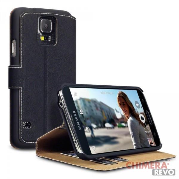 Terrapin Cover di Pelle con Funzione di Appoggio Posteriore per Samsung Galaxy S5 Nero