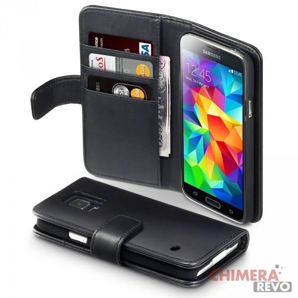Terrapin di vera pelle della cassa del raccoglitore per Samsung Galaxy S5 Nero