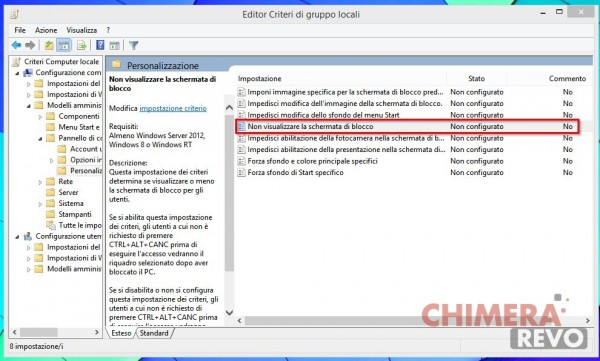 schermata di blocco windows 8.1