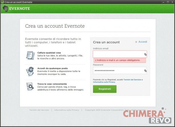 Crea un account Evernote