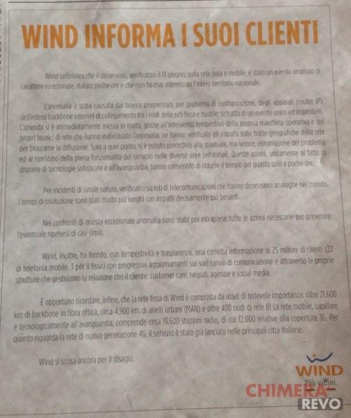 Wind disservizio