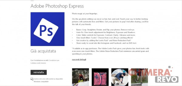 Adobe Photoshop Express per Windows Phone
