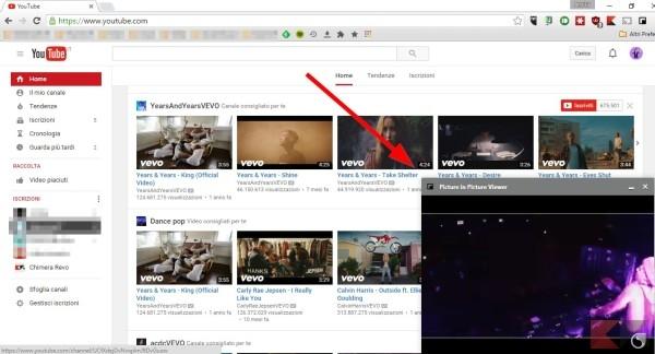 navigare mentre si guarda un video su YouTube