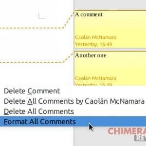 formattare tutti i commenti contemporaneamente in LibreOffice