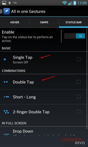 spegnere lo schermo con doppio tocco