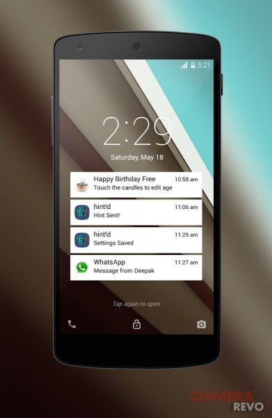 Lockscreen di Android L