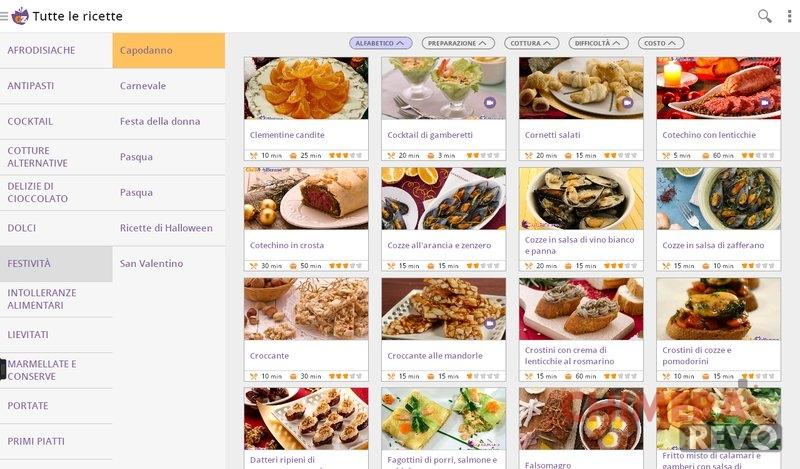 Database per ricette cucina