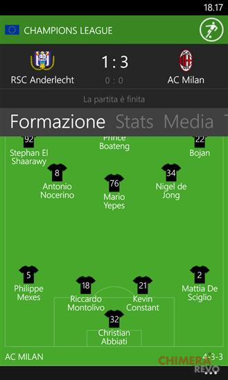 App di calcio per Windows Phone - OneFootball