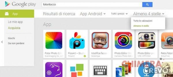 Play Store Android - filtro 4 stelle