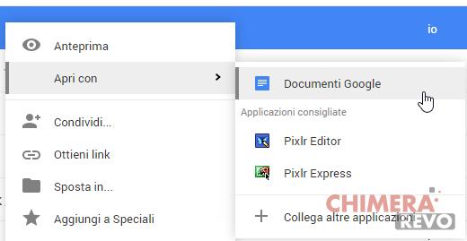 Apri con - Google Drive