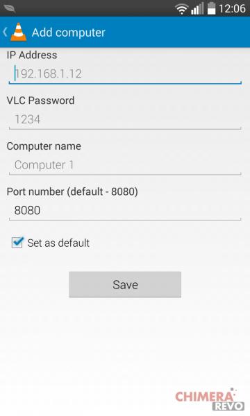 Configurazione manuale vlc remote