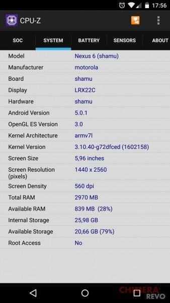 Nexus 6 - Specifiche