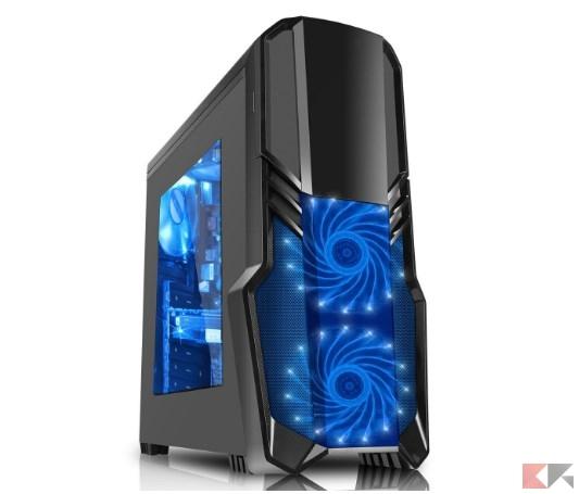 CiT G Force - Alloggiamento per PC da gioco, con ventola a 15 LED blu frontale,