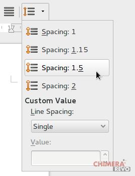 Pannello dell'interlinea di LibreOffice 4.4