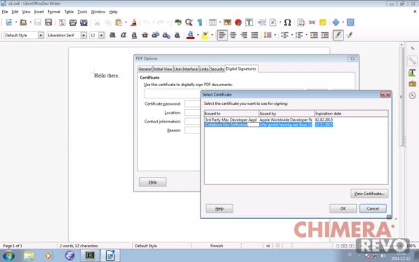 Firma digitale PDF direttamente da LibreOffice