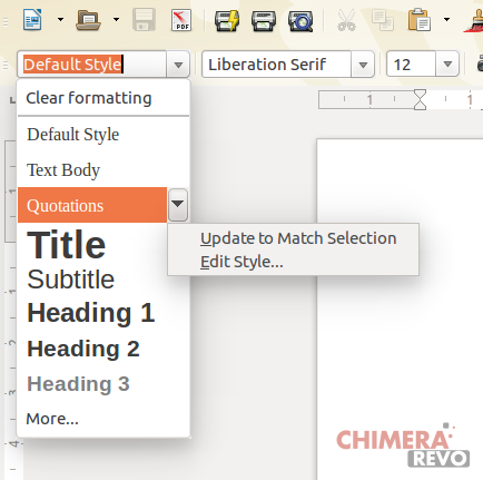 Menu Stili in LibreOffice
