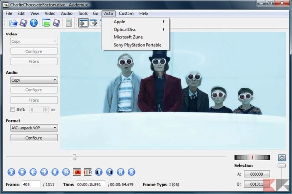 Modificare video gratis - Avidemux