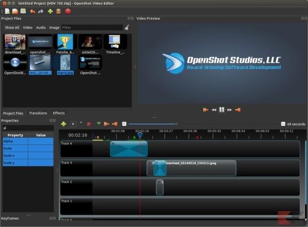 Modificare video gratis - Openshot