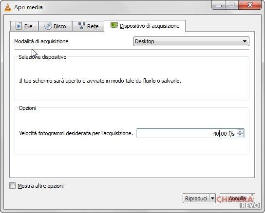 registrare lo schermo su Windows con VLC