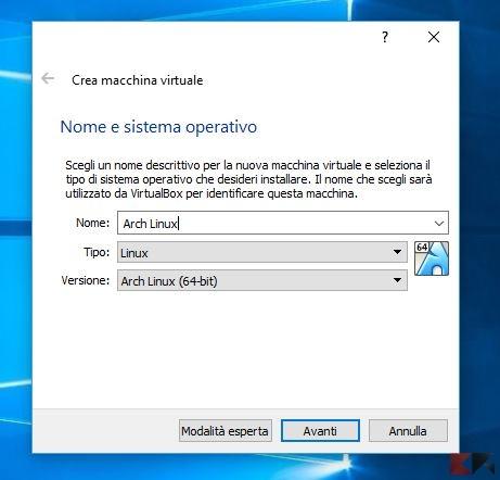 macchina virtuale virtualbox