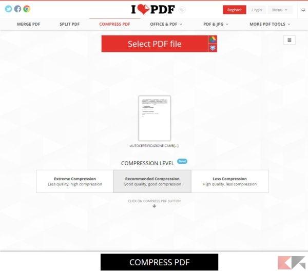 ridurre PDF - ilovepdf