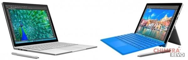 Sinistra: Surface Book; destra: Surface Pro 4