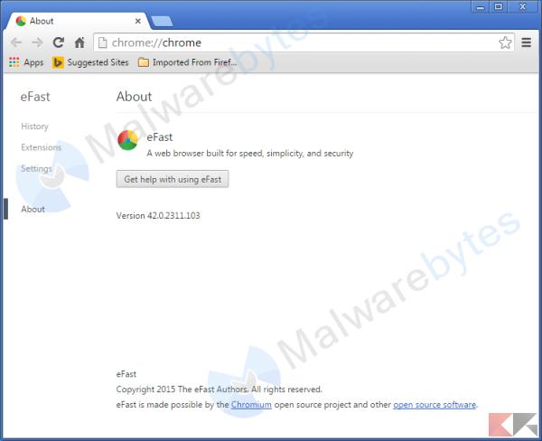 eFast Browser - Immagine: MalwareBytes