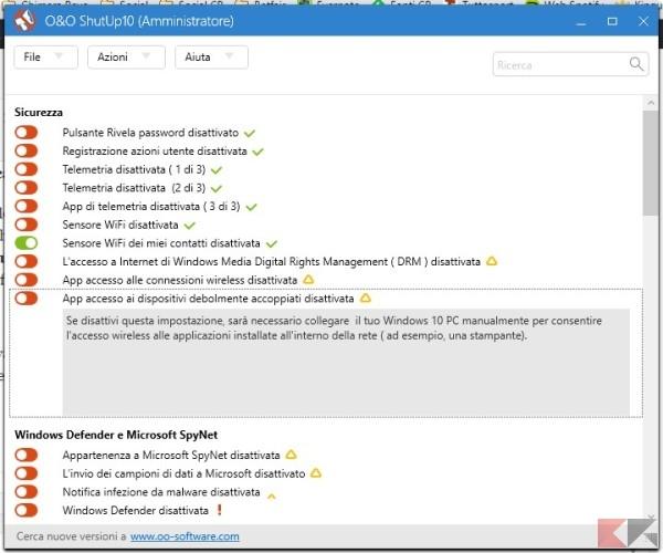 privacy su Windows 10