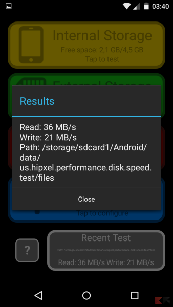 Test microSD