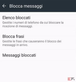 bloccare sms android