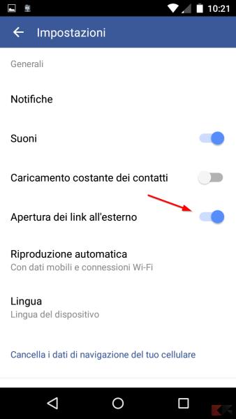 link in un browser esterno