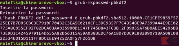 Proteggere GRUB2 con password